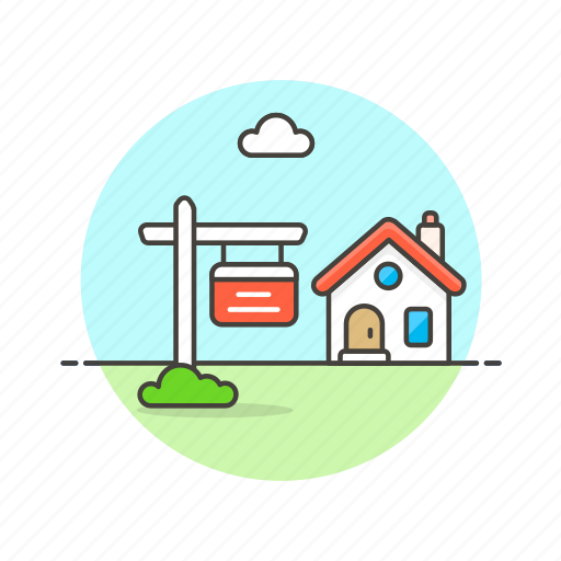 build, construction, estate, for, house, real, sale, sign icon