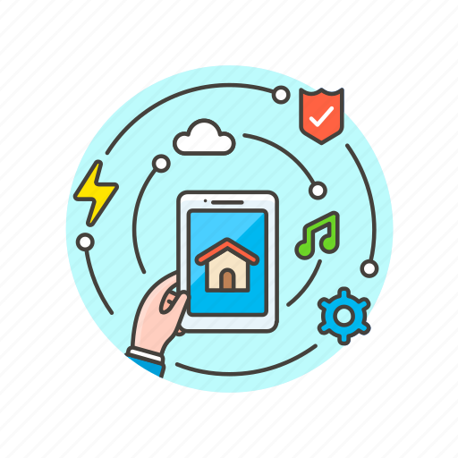 construction, device, estate, house, information, real, tablet icon