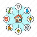 architecture, connect, construction, estate, house, information, map, real icon
