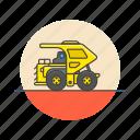 build, construction, estate, haul, mechanical, powertrain, transport, truck icon