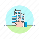 apartment, building, condominium, construction, estate, rate, real, thumb icon