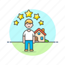 construction, estate, home, host, man, rate, real, star icon