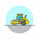 construction, estate, real, roller, transport, truck, vehicle icon