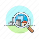 apartment, condominium, construction, estate, for, place, real, search icon