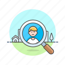 agent, construction, estate, for, host, property, real, search icon