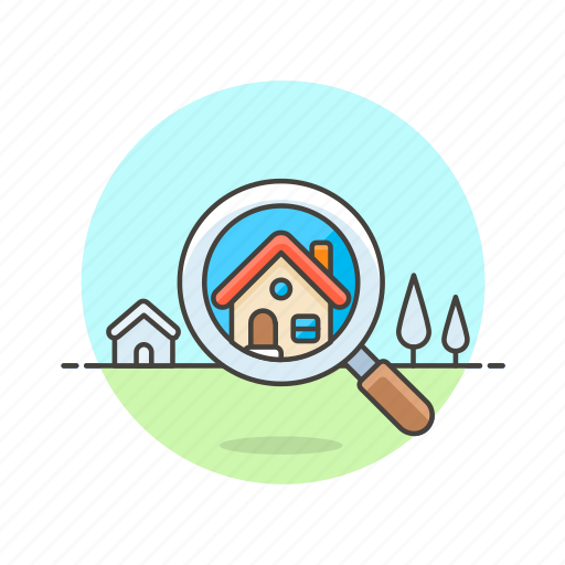 construction, estate, home, house, property, real, search icon