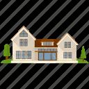 apartment building, bungalow building, house, real estate, villa icon