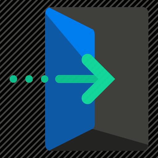arrow, door, enter, estate, feature, real icon