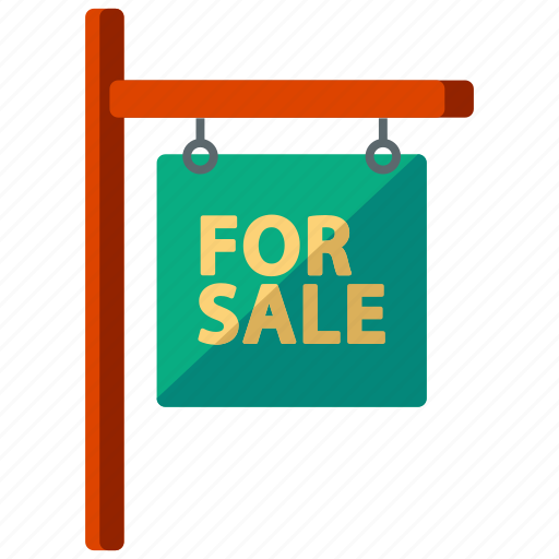 estate, feature, for, real, sale, sign icon
