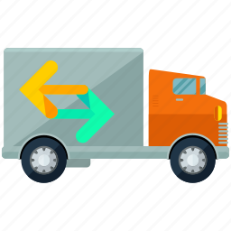 arrows, estate, moving, real, truck, van, vehicle icon