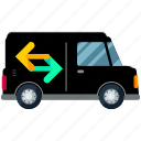 arrows, estate, moving, real, van, vehicle icon