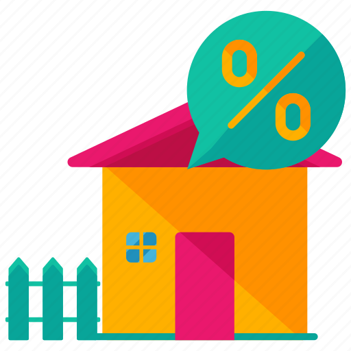 estate, feature, fence, home, house, percentage, real icon