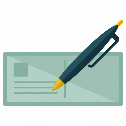 cheque, estate, feature, pen, real, signing, write icon
