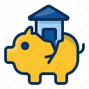 architechture, building, house, realestate, piggy, bank, real estate icon