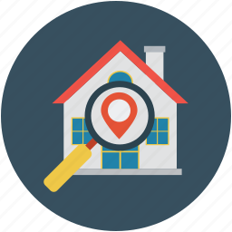 address, building, find house, finding house, locate house, location, real estate, search house icon