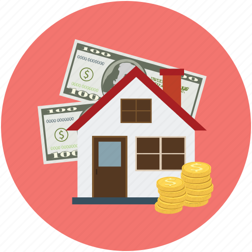 house, money, money with house, property, property amount, real estate icon
