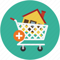 add home, add home to cart, cart, home, house cart, shopping cart house icon
