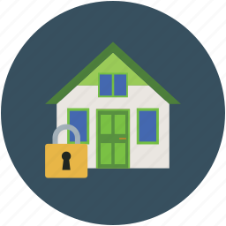 home, house, lock house, property security, real estate, security of home, security of house icon