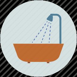 bathtub, shower, shower and tub, water tub icon