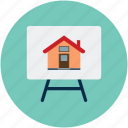 apartment, house board, presentation, presentation board, property presentation, real estate, real estate presentation icon
