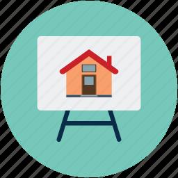 apartment, house board, presentation, presentation board, property presentation, real estate, real estate presentation icon