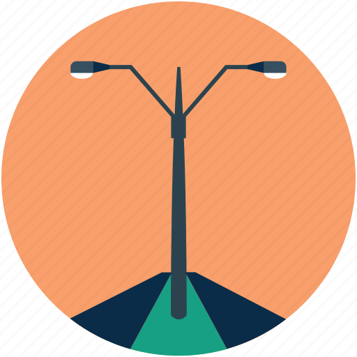 lamppost, poles, road lamps, road lights, street lamp, street light icon