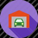 automobile, car, garage, parking, shutter, vehicle