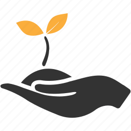 business, give, growth, hand, life, plant icon