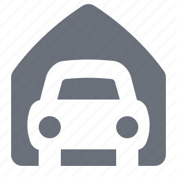 car, carport, garage, house, pika, real estate, simple icon