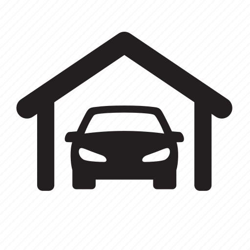 car, garage, home, house, real estate, roof, transport icon