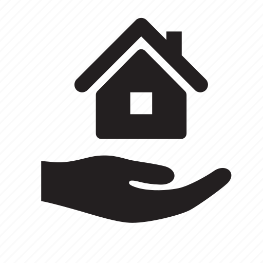 business, buy, hand, home, house, real estate, sell icon