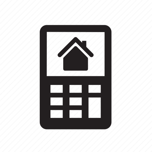calculate, calculator, home, house, mortgage, phone, real estate icon
