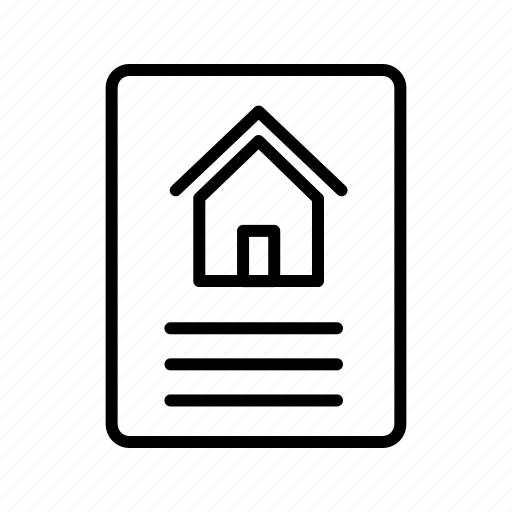 contract, document, house icon