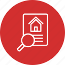 home, house, property, search icon