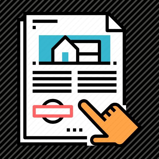 document, estate, form, house, household registration, ownership, registration icon