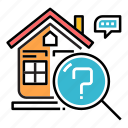 estate, house, housing, inspection, magnifying, property, property inspection icon
