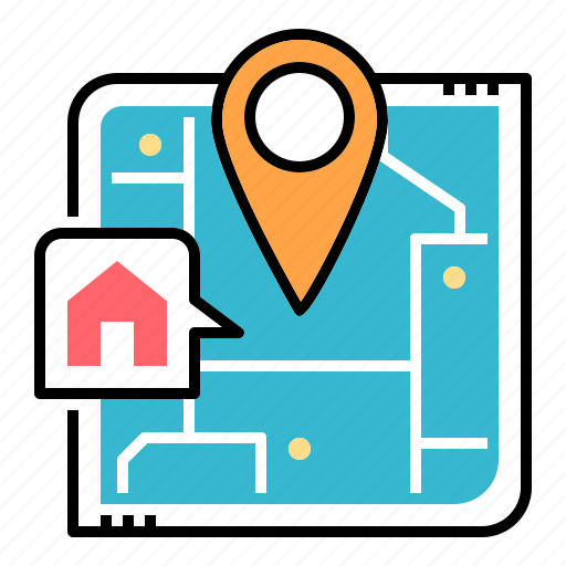 estate, house, location, map, pin, property, property location icon