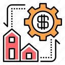 estate, finance, housing, investment, property trading, sale, trade icon