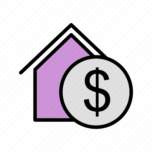dollar house, house, property, real estate icon