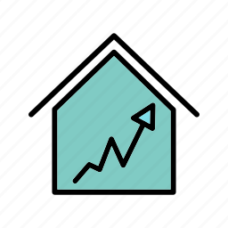 graph, house, house icon, housing market, money house, positive graph icon