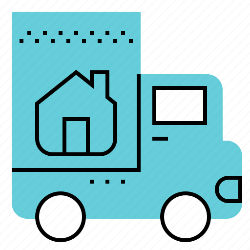 home, moving, service, truck icon