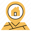 house, direction, location, pin, map