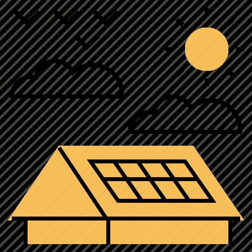 alternative, clean, energy, panels, roof, solar, sun icon