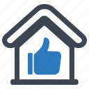 building, home, house, like, property, thumb up icon