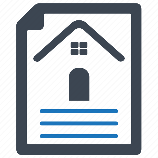 arreement, contract, house, loan papers, mortgage, property document icon