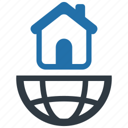 accommodation, apartment, earth, global, internet, living, network icon