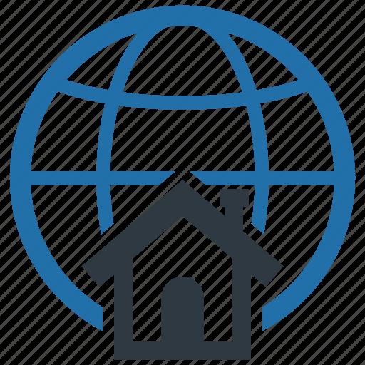 accommodation, connection, global, globe, internet, living, world icon