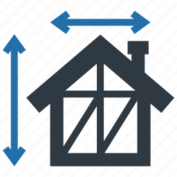 architecture, building, construction, dimensions, height, house, width icon