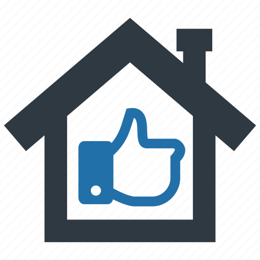 apartment, building, home, house, like, property, thumb up icon