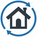 building, home, house, move, property, real estate, replace icon